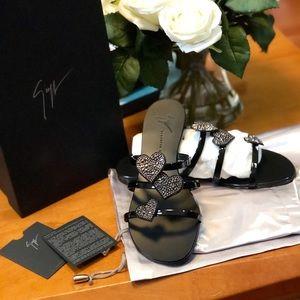 Giuseppe zanotti triple heart embellished sandal